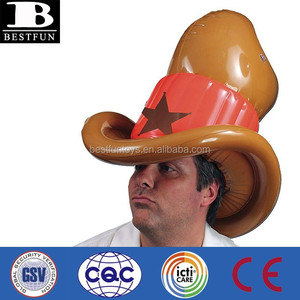 Promotional customized inflatable cowboy hat plastic folding funny cowboy hats