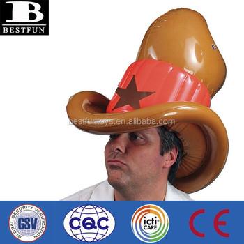 Promotional customized inflatable cowboy hat plastic folding funny cowboy  hats d9624657dbd