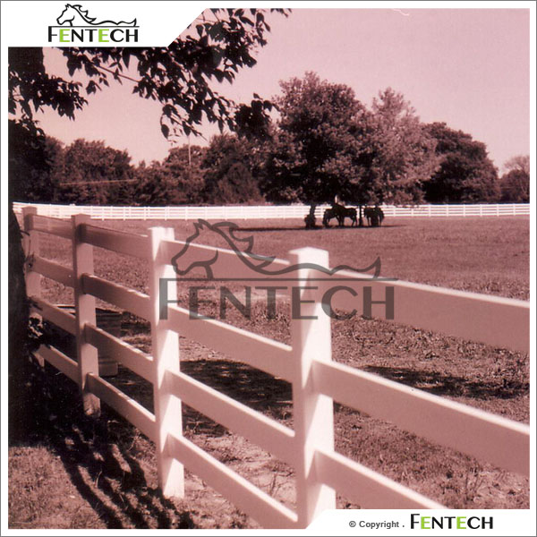 Fentech 4-Rail White Post and Rail Vinyl Fencing for Stud Farm