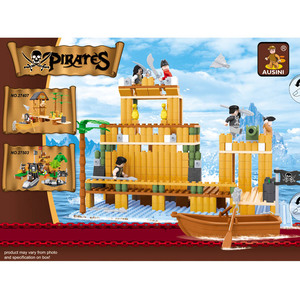 AUSINI Accessory 332 Pieces enlighten pirate ship figure block toy for 4 years old