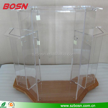 High Quality Acrylic Lectern with Wood Base and Side Wings