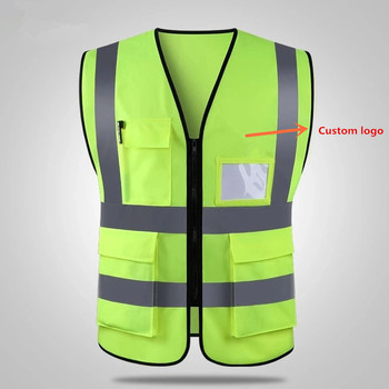 Custom design safety reflective protective vest high visibility work clothes with pockets