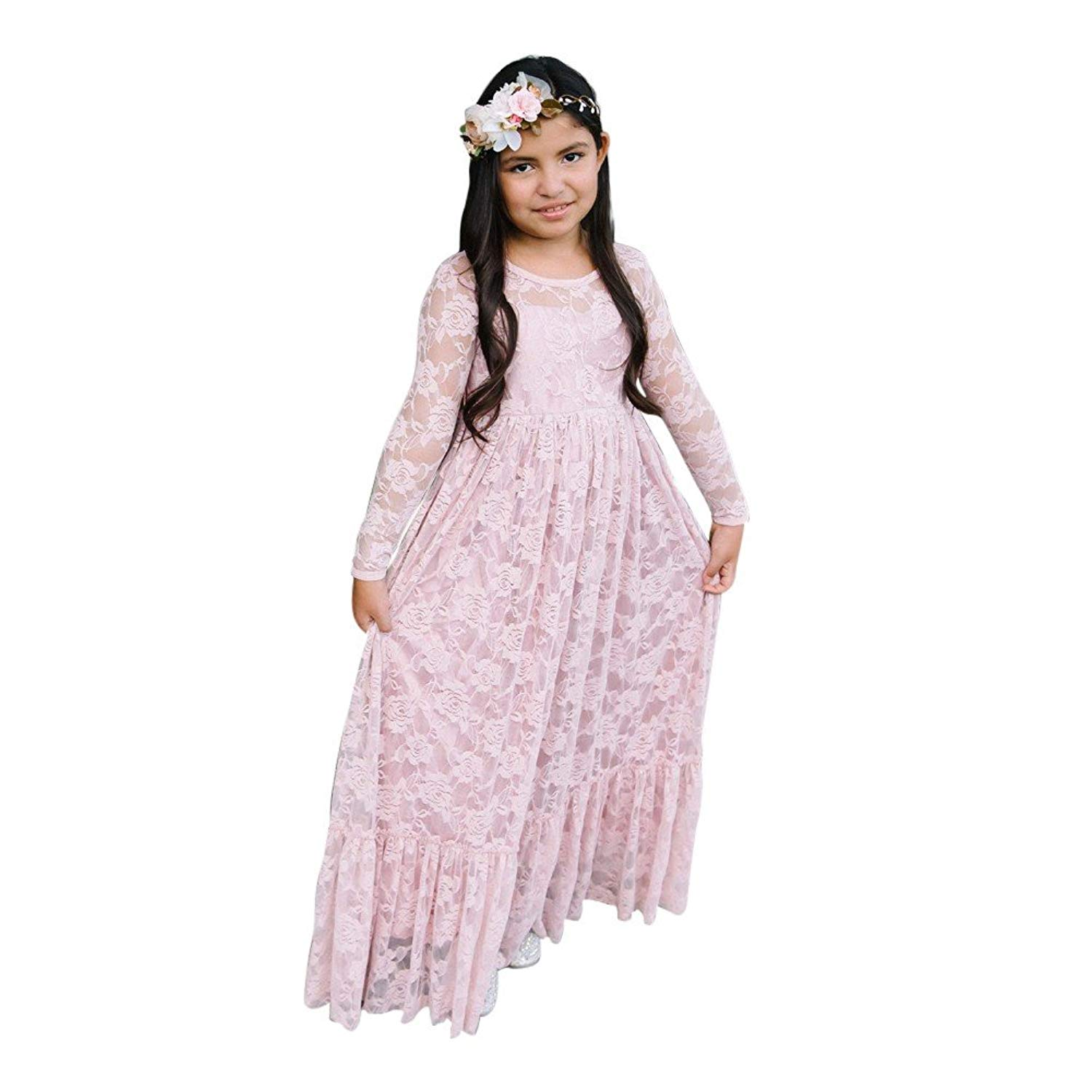 """Think Pink Bows Girls Blush Lace """"Sweetheart"""" Flower Girl Dress 1Y-6"""