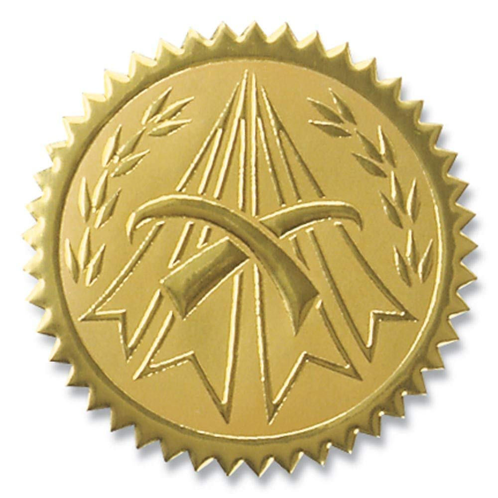 Embossed Symbol of Distinction Gold Foil Certificate Seals, 2 Inch, Self Adhesive, 102 Count