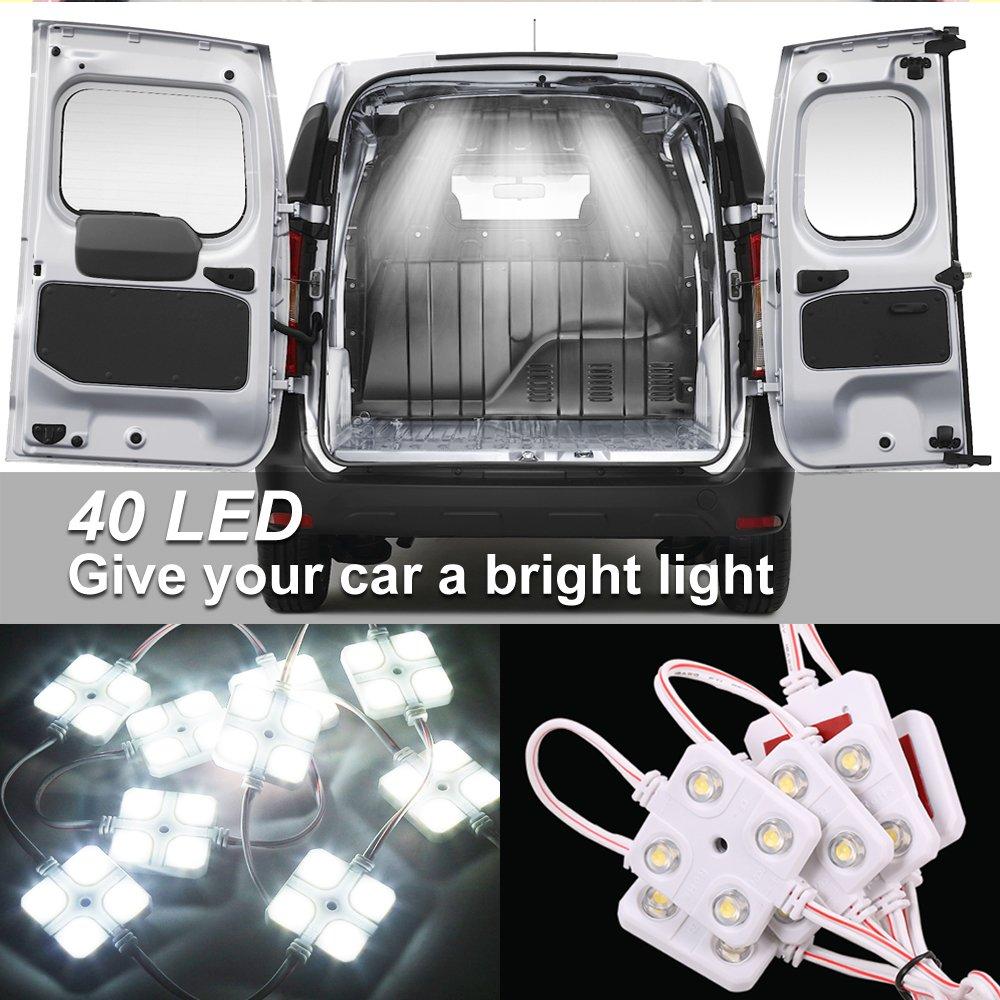 Interior Led Lights,LEELEBERD Injection Modules 40 LEDs White LED Ceiling Light Led Truck Light Kit Waterproof Van Cargo Lighting For Decorative LWB Boats Caravans Trailers Pickup Truck
