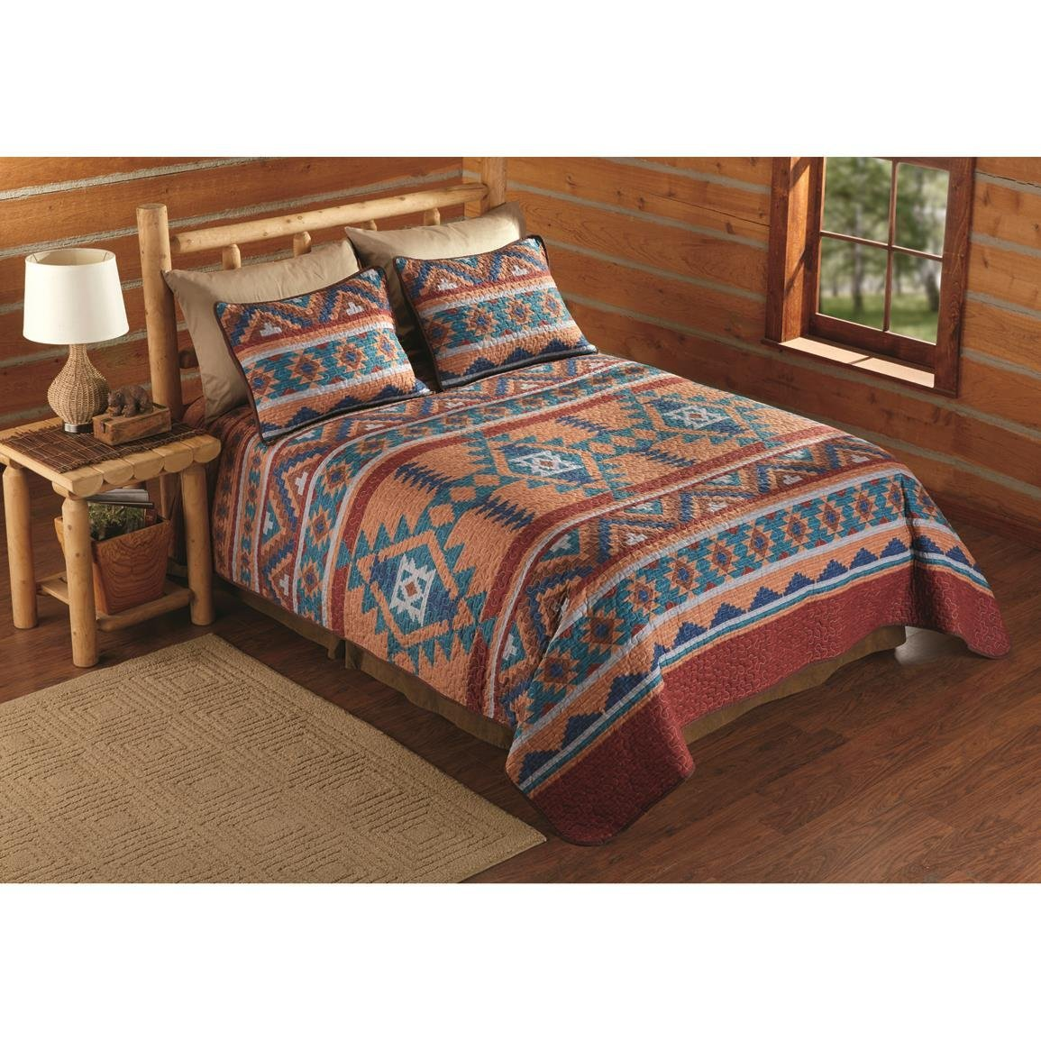 N2 3 Piece Red Blue Orange Southwest Quilt King Set, Southwestern Bedding Native American Ivory Taupe Brown Tribal Indian Themed Cabin Lodge Western Motifs Stripes, Cotton Polyester
