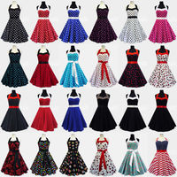 Rockabilly 50s Polka dotsl Petticoat Pin Up Gothic Vintage Retro Party Swing Evening Prom Dress