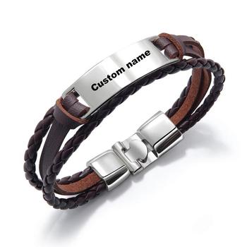 0c4d517c84fa5 Dropshipping Personalized Engraved Name Custom Logo Men Leather Id Bracelet  - Buy Leather Bracelet,Custom Logo Men Leather Bracelet,Engraved Leather ...