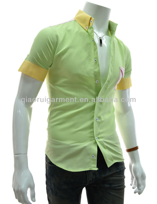 Men's Bright Colored Button Down Collar Patched Pocket Casual ...