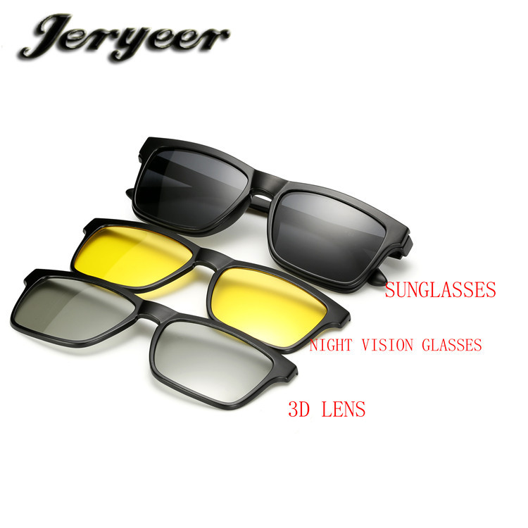 Order Glasses Online 3 in 1 3D Lens Night Vision Sunglasses Black Frame Glasses Fashionable Mens TR90 sunglasses