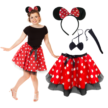 Ladies Women Minnie Mickey Style Costume For Adult Fancy Dress Costumes Skirt Headband Set QAWC-3502