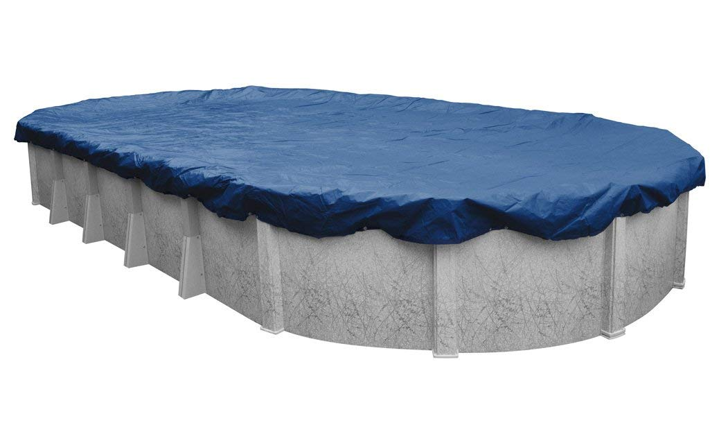 Pool Mate 471833-4-PM Commercial-Grade Rip-Shield Winter Oval Above-Ground Cover, 18 x 33-ft, Dazzling Blue