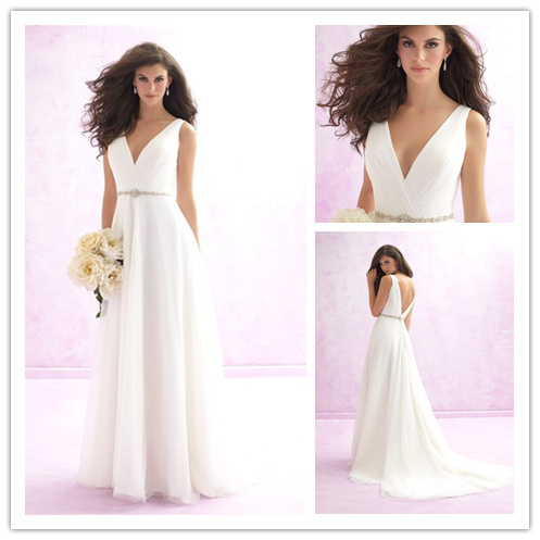 Sexy Backless Chiffon V-neck Wedding Dresses Vestido De Noiva Longo 2015 Best Selling Beaded Bridal Gowns A-Line Robe De Mariage