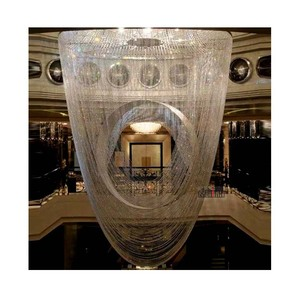 Customized personalized design crystal beads long chandeliers for lobby and staircase of hotel banquet hall chandelier