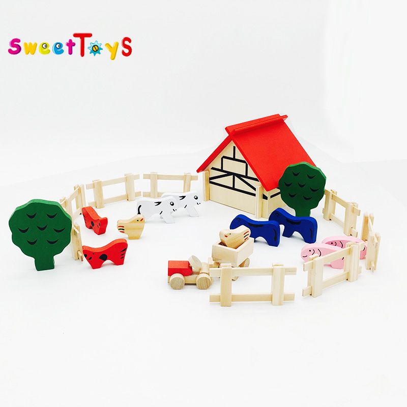 Baby Brain Development Play Toy Farm Play Set Baby Toys Custom Wooden Toy Farm Set