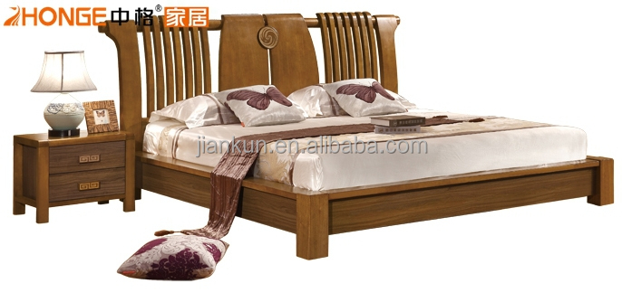 bed designs in wood. 6108 Oak Bedroom Furniture Solid Wood Simple Design Bed Febric Back Designs In
