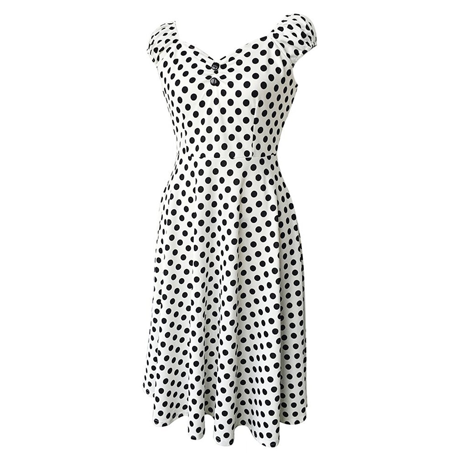 cheap white 1950s dress find white 1950s dress deals on line at 1950s Petticoat get quotations jescrich women s polka dots 1950s style vintage capshoulder swing party dress white