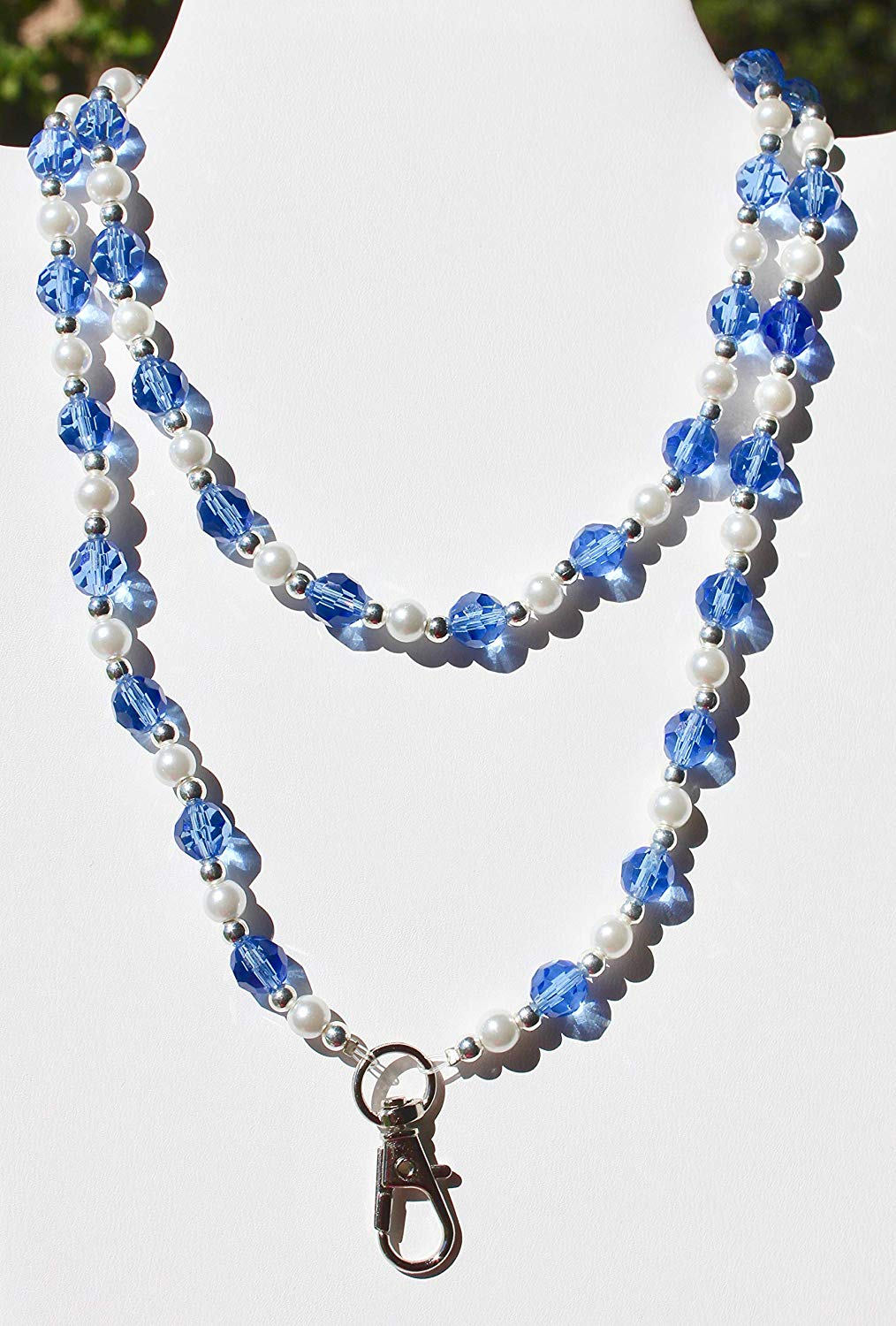 MaddieGirlGifts Blue Czech Bead and Glass Pearl Lanyard