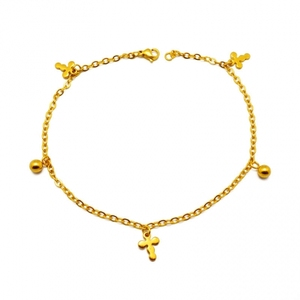 Girls Fashion Jewellery Cute Bead Cross Charm Anklet