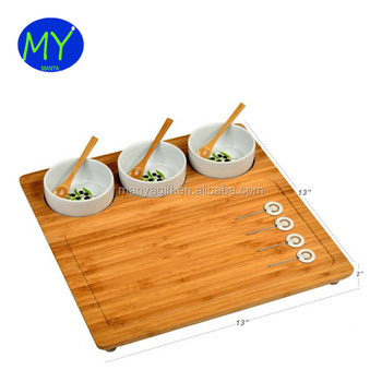 The Best China Bamboo Wood Cheese Board Charcuterie Platter With 3 Ceramic Bowls On Sale Buy The Best China Wood Cheese Boardbamboo Wood Cheese