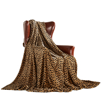 Manufacturers chunky knit sofa throw blanket flannel fleece soft colorful Cheetah 60*90