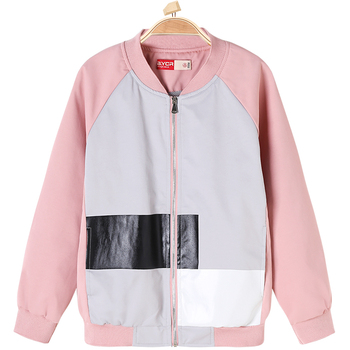 756d5969b Patchwork Leather Jacket Pattern Printed Girls Autumn Waterproof ...