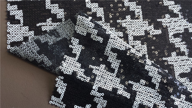 white black sequin fabric /embroidery fabric tulle spangle BG2518