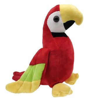 Mewah Merah Berbicara Burung Beo Mainan Lembut Burung Bernyanyi