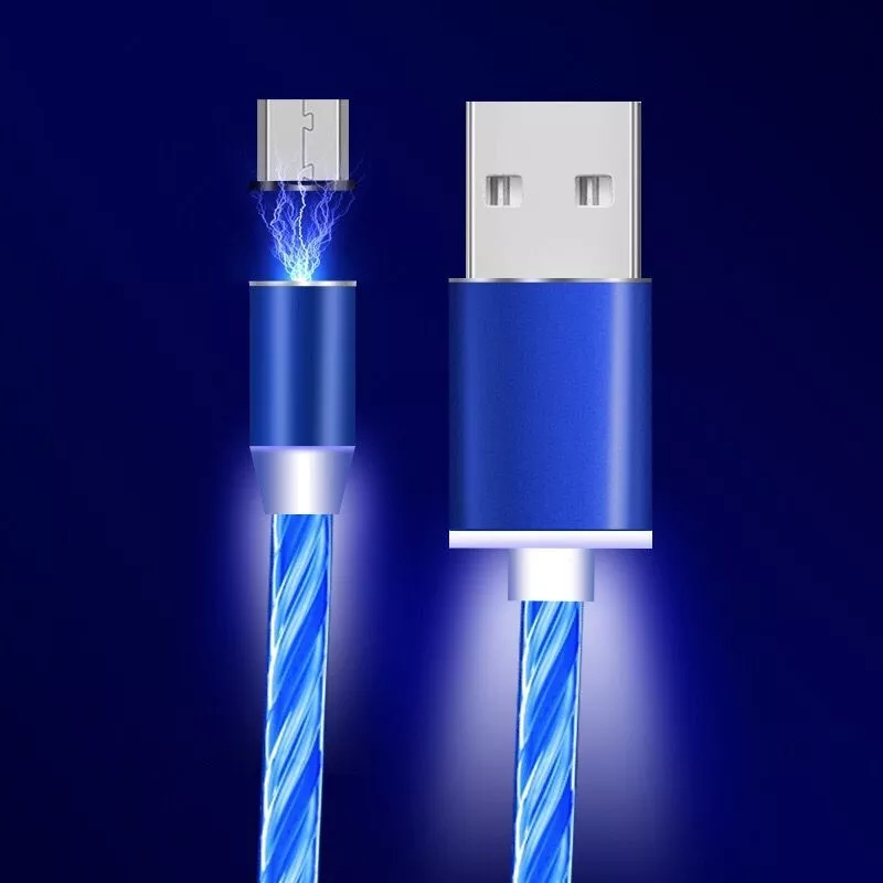 SIKAI 2019 New Arrival Free Sample Flowing Light Data Line USB 3 in 1 fast charging cable LED Charge Cable Magnetic Cable