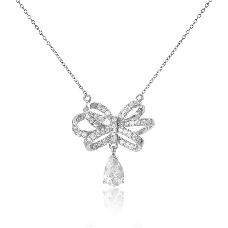 Elegant Cute Cubic Zirconia Bowknot Pendant Necklace Earring Stud Jewelry Set Charm Gifts for Women Girls