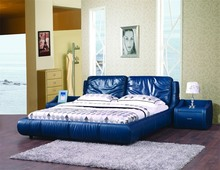 Chinese antique wooden blue leather furniture continental bed set divan bed design