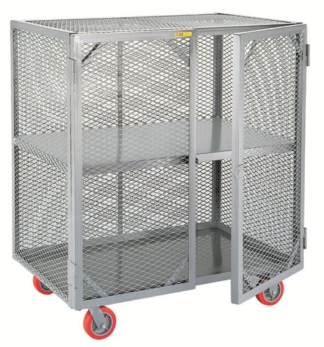 "Little Giant SC-3048-6PPY Welded Steel Visible Mobile Storage Locker with Fixed Center Shelf, 2000 lbs Load Capacity, 56"" Height x 30"" Width x 48"" Length"