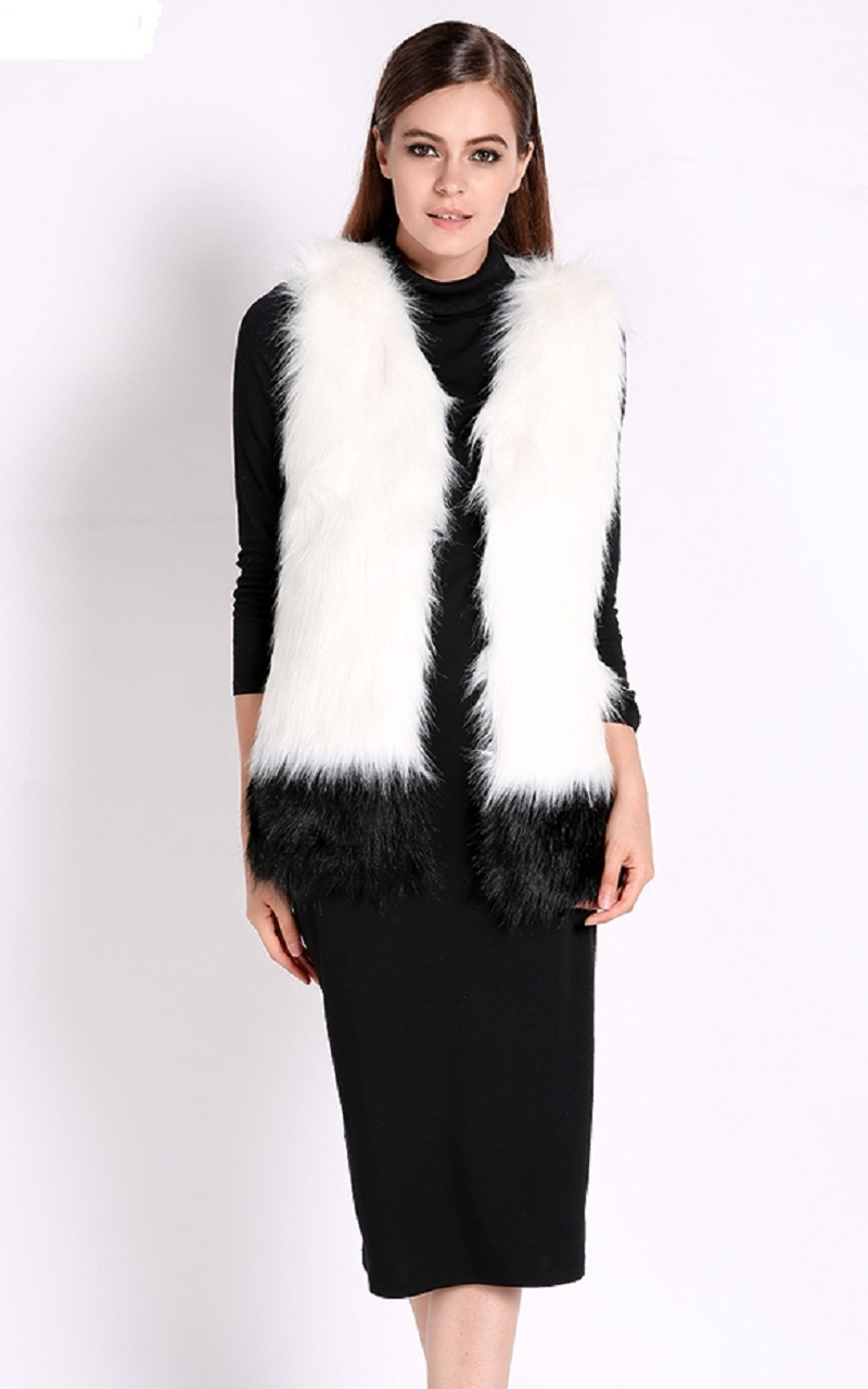 18b8175a2 Get Quotations · 2015 New Hot Sale Fshion Womens Vintage Korean Oversized  Faux Woolly Black/ White Long Fur