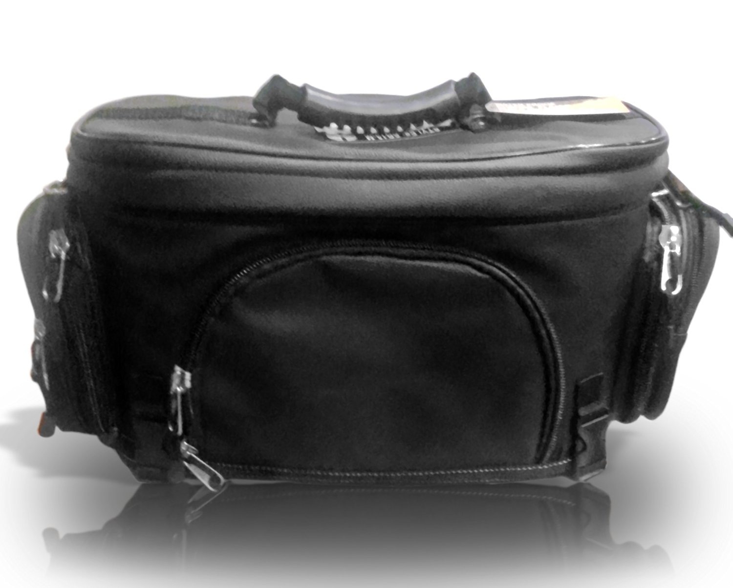 """The Nekid Cow Brand 16"""" Premium Waterproof Motorcycle Black PVC Leather Like Sissy Bar Bags For Travel - GUARANTEED Luggage Tool Overnight Bag w/Quick Release Buckles and Top Of The Line, DOUBLE STITCHED PVC Rigid Construction Makes this Accessory Sport Pack a Great Deal - Includes Bonus Motorcycle"""