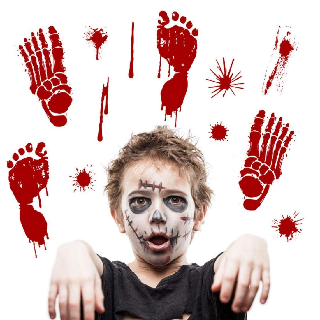 Rumas Bloody Footprints Halloween Party Decoration - Footprint Stickers Floor Stickers - Blood Splatter DIY Wall Murals Decor - Removable Waterproof Wall Decals Cling Halloween Zombie Decor Decals (B)