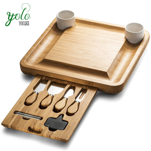 Bamboo Cheese Board With Cutlery Server Set, Platter Tray With 2 Ceramic Bowls & 3 Slate Labels & 2 Chalk Markers