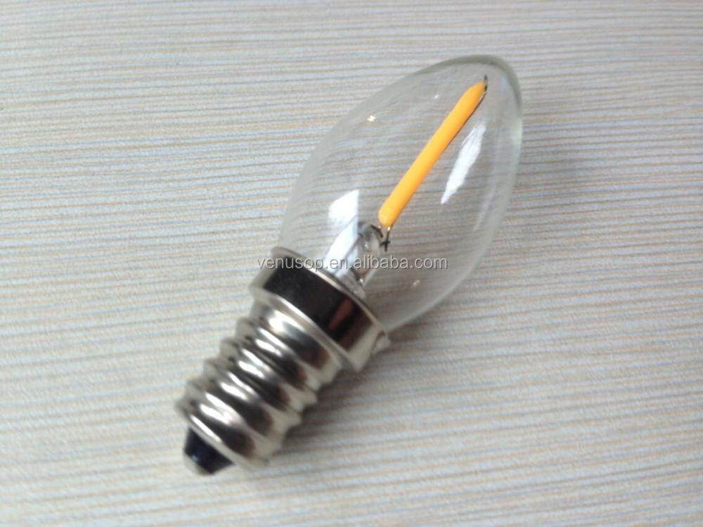 Mini 2200k 120v C7 0.5watt E12 Filament Led Christmas Lights Bulb ...