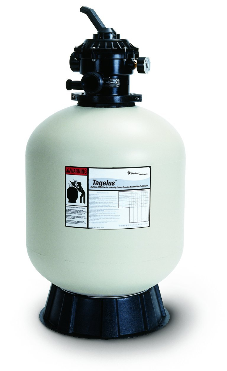 Pentair 145240 Tagelus Top Mount Fiberglass Sand Pool Filter, 4.9 Square Feet, 100 GPM, with Clamp-Style Multiport Valve