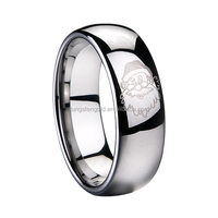 Christmas ring unique gift wedding rings 8mm silver plated tungsten carbide ring with santa pattern