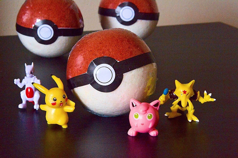6 SIX Pokemon/Pokeball Bath Bombs (Toy Inside!) Kids Bathtime Fun! - Christmas Gift Idea