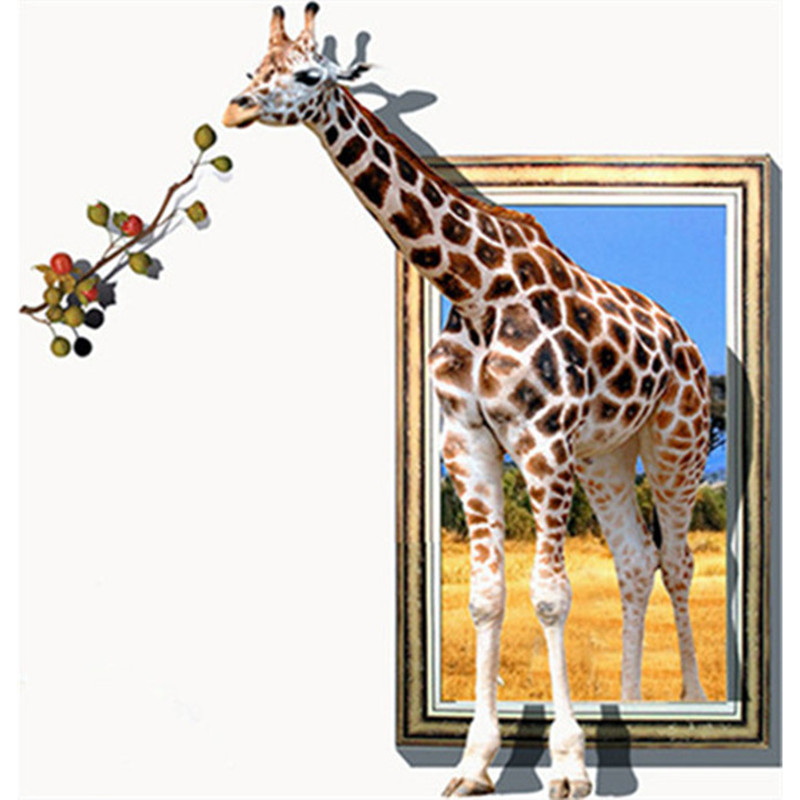 acheter grande taille faux cadre photo stickers muraux un giraffe ludique et. Black Bedroom Furniture Sets. Home Design Ideas