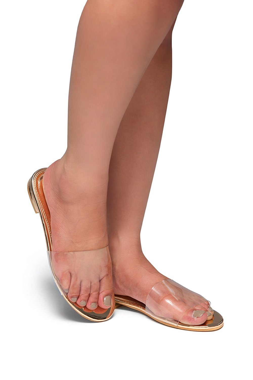 9e3909490 Get Quotations · Herstyle Women's SL-SERENNA- Transparent band, open toe,  slip-on flat