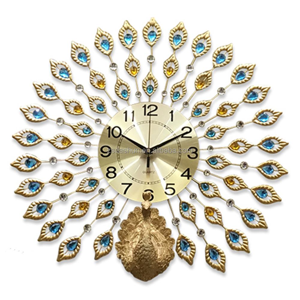 นกยูงหรูหรา3Dโมเดิร์นที่กำหนดเองตกแต่งออกแบบนาฬิกาแขวนผนัง