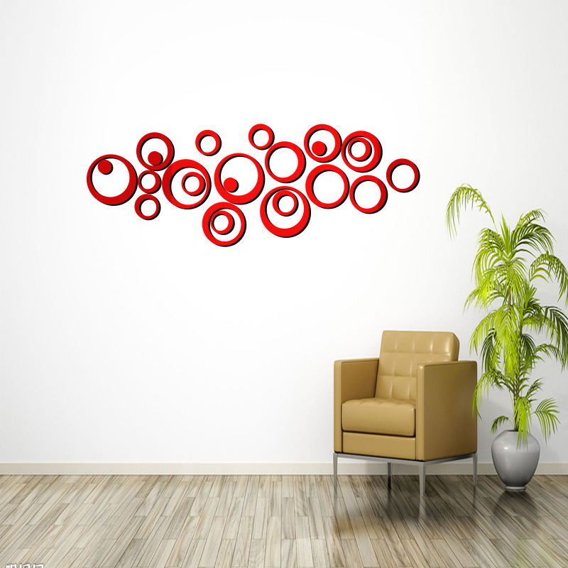 Circles Wall Mirror Stickers Room Decoration Sofa TV Background Home Wall Decor