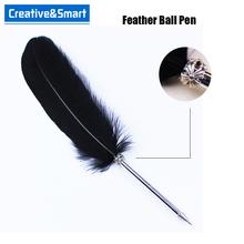 Promotional Gifts Custom Logo Quality Guarantee 0.5mm Black Ink Feather Quill Pen/ Plastic Feather Pen