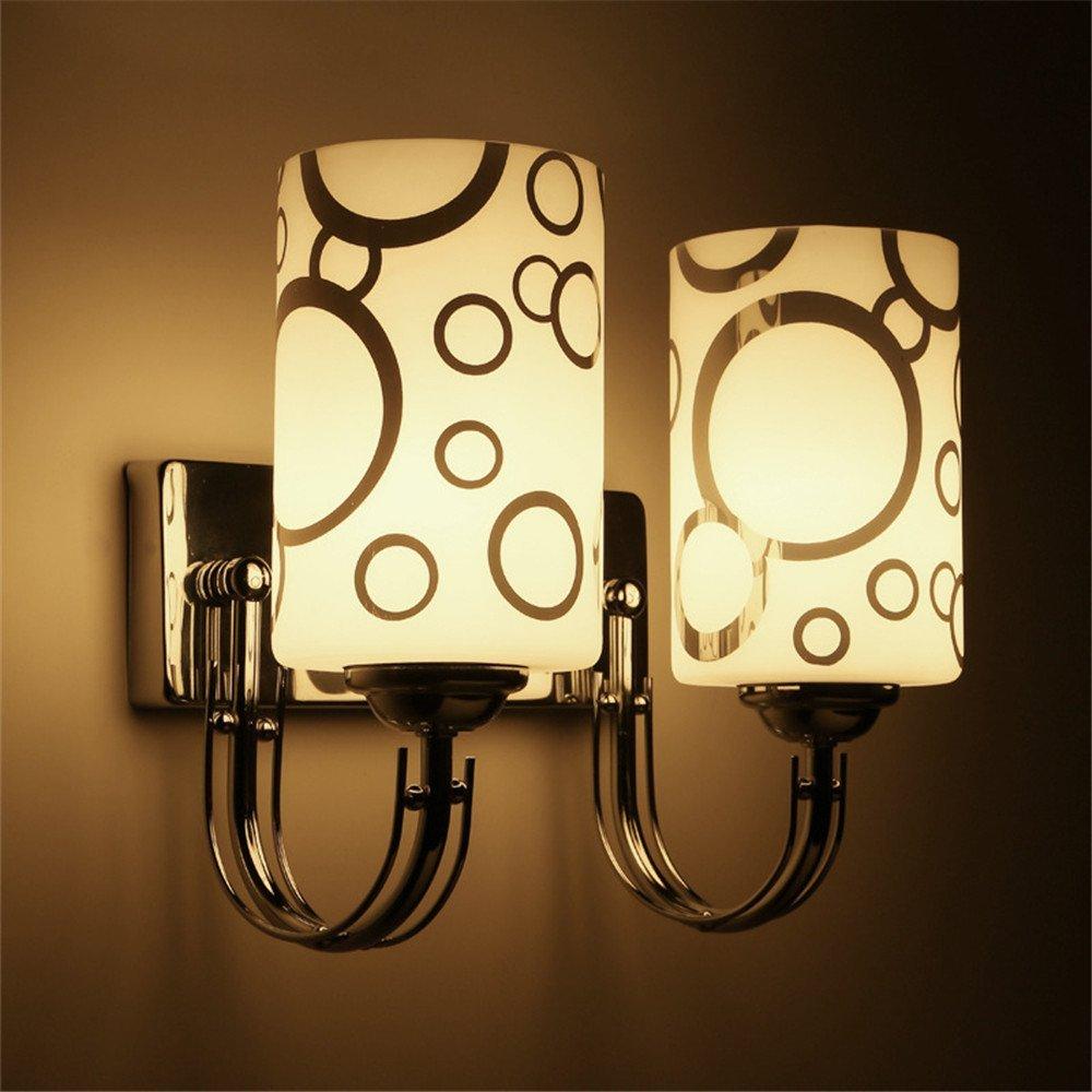 Wall lamp creative wall lamp led hotel wall lamp room wall lamp simple modern bedside double head wall lamp bedside bedroom wall lamp/28x24cm