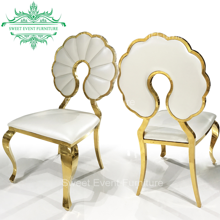 Outdoor flower white pu gold ss frame stackable chair for wedding , banquet , event , party