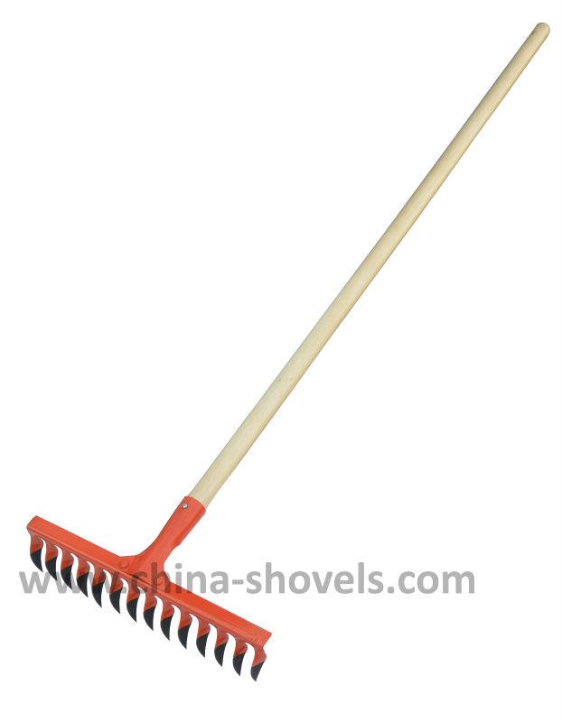 Long wooden handle garden grain gravel rake buy rake for Agriculture garden tools