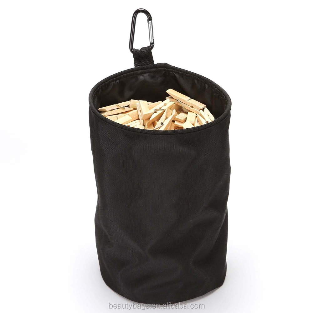 Clothespins Bag Holder,Outdoor Hanging Clothes pins Storage Organizer Bags,Waterproof and Dust-proof ,Black