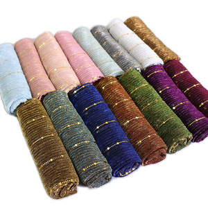 Magic filament Sequin Glitter Scarves Muslim Women Viscose Hijabs Shimmer Shawl Hijabs Wrinkles Islamic Scarf Veil Head Cover